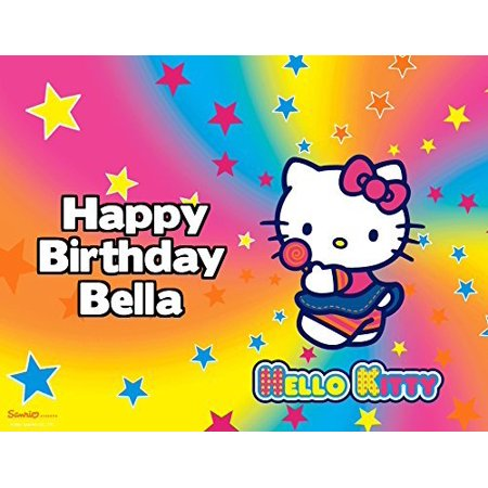 Hello Kitty Sanrio Rainbow Image Photo Cake Topper Sheet Personalized Custom Customized Birthday Party - 1/4 Sheet - 77618 - Walmart Hello Kitty Cake