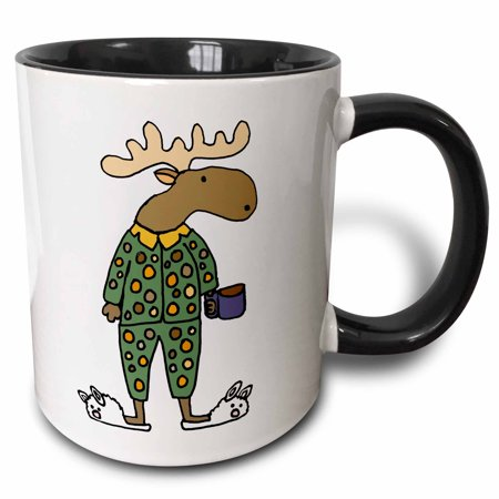 3dRose Cute Funny Moose in Polka Dot Pajamas with Coffee - Two Tone Black Mug, 11-ounce