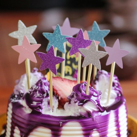 Heepo 10Pcs Glitter Star Cupcake Cake Topper Party Supplies Birthday Wedding Decor (Birthday Cake Supplies)