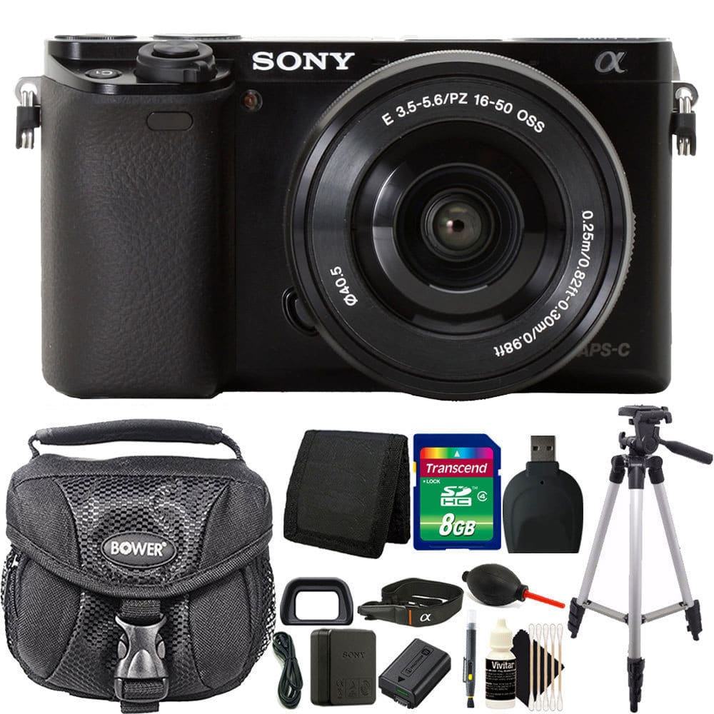 Sony Alpha a6000 24.3MP Built-In WIFI Black Mirrorless Digital Camera + 16-50mm Lens with Accessory Bundle