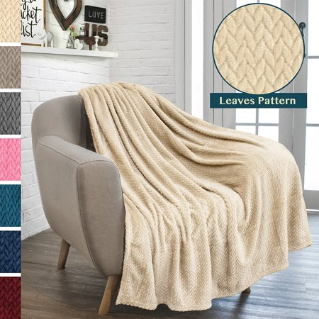 Luxury Soft Plush Throw Blanket for Couch Sofa | Silky Velvet Fleece Chevron Pattern Throw | Cozy Warm Lightweight Microfiber | All Season Use | 50 x 60 Inches, by Pavilia