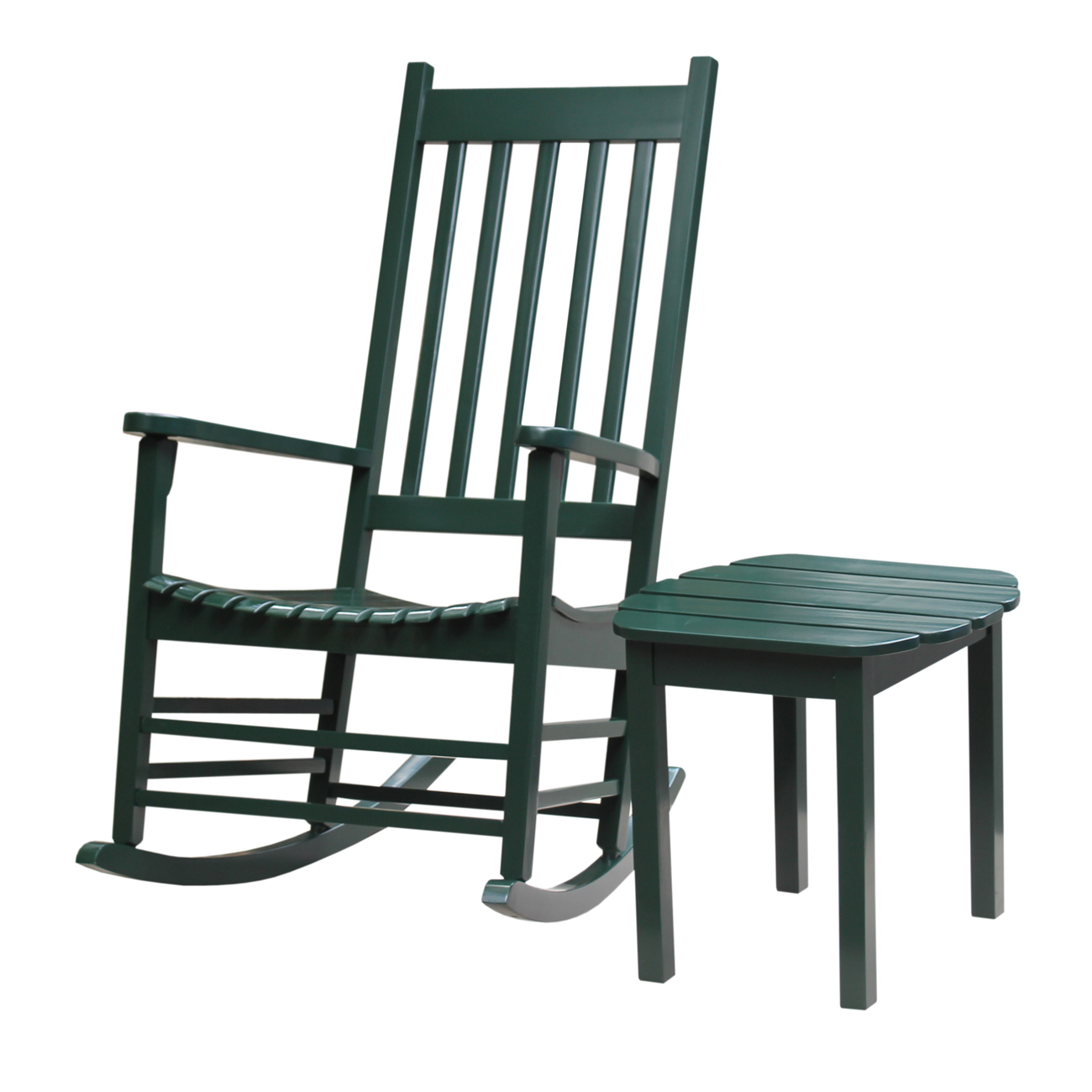 Porch Rocker with Side Table in Hunter Green