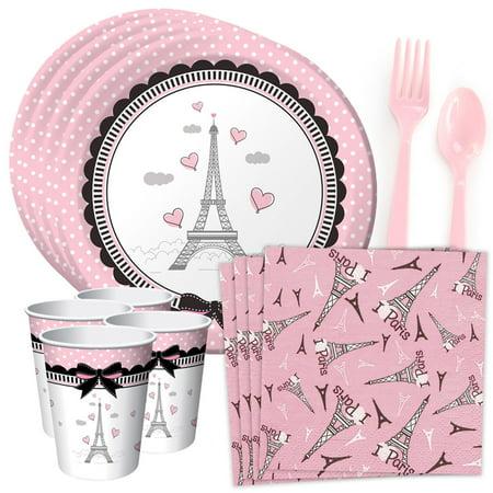 Party In Paris Standard Tableware Kit (Serves 8)](Paris Theme Party Supplies)
