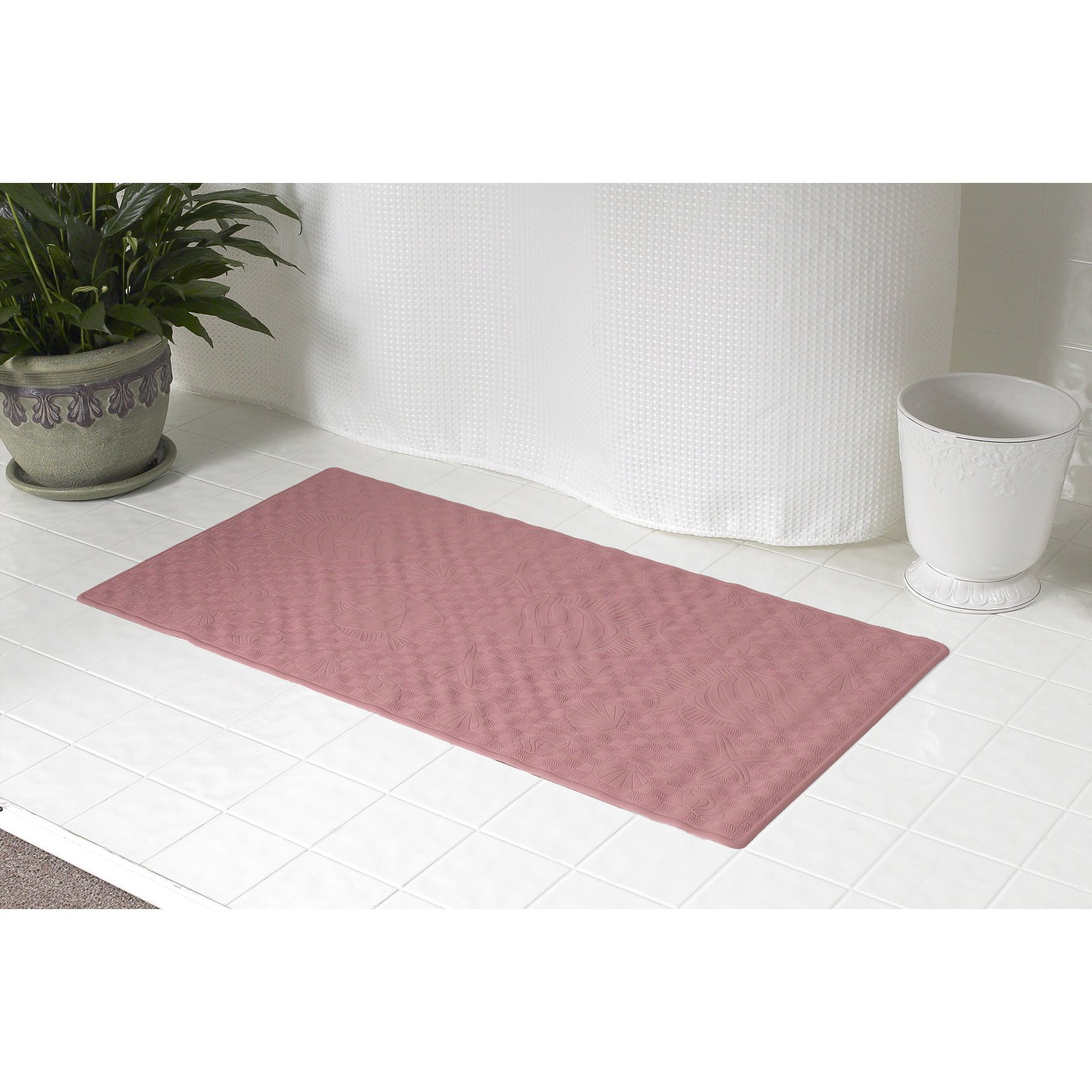 Large (18'' x 36'') Slip-Resistant Rubber Bath Tub Mat in Rose