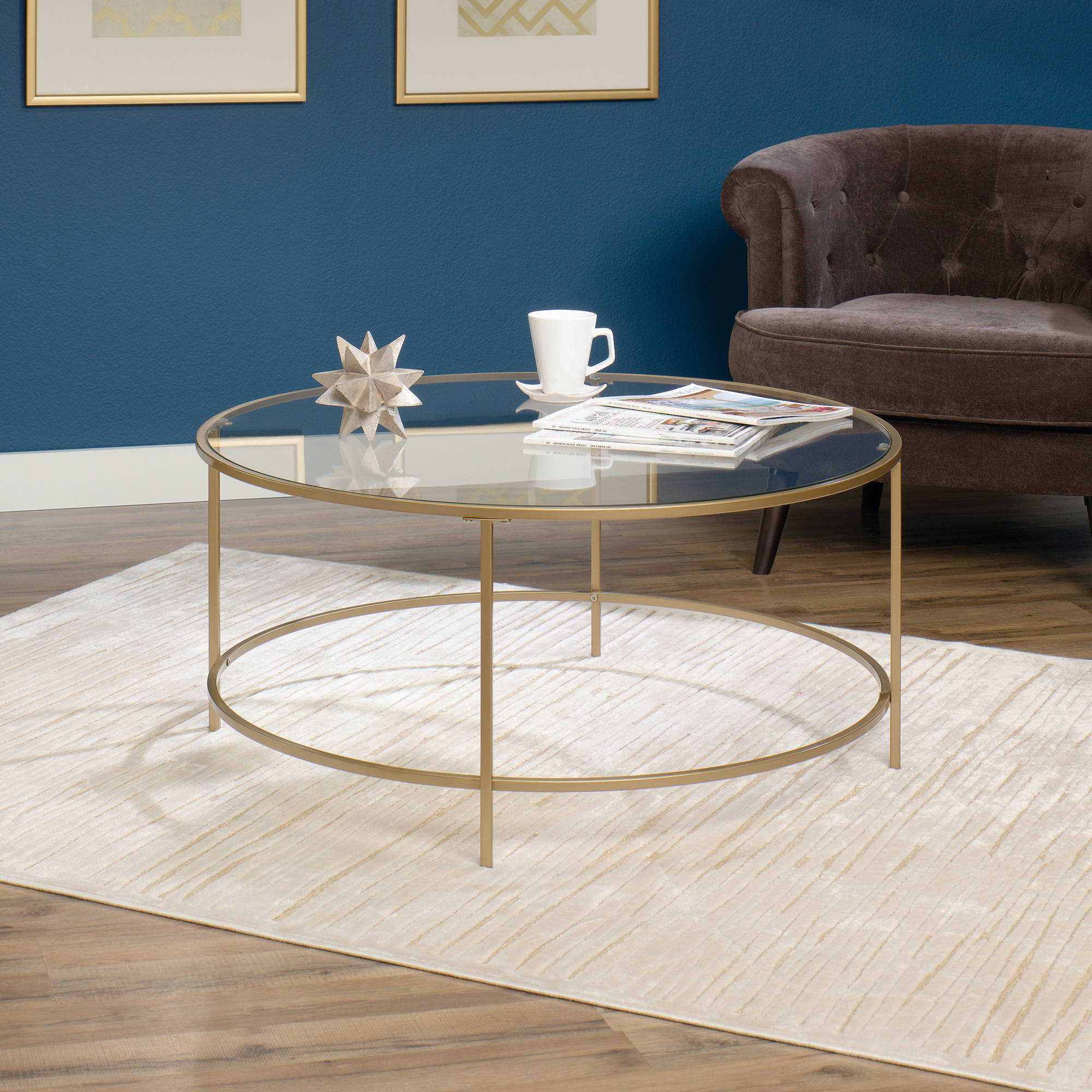 Sauder International Lux Round Coffee Table Satin Gold Walmart