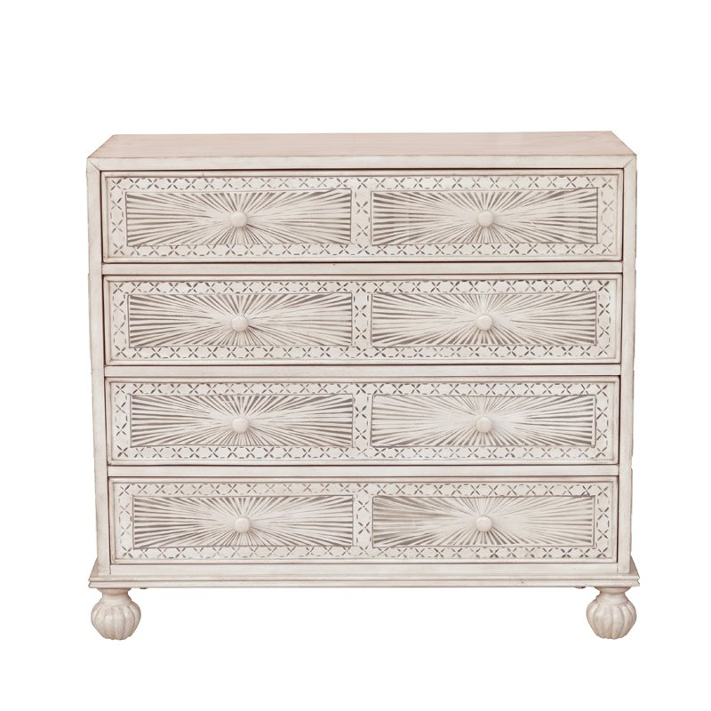 Traditional Grey Hand Painted Four Drawer Accent Storage Chest