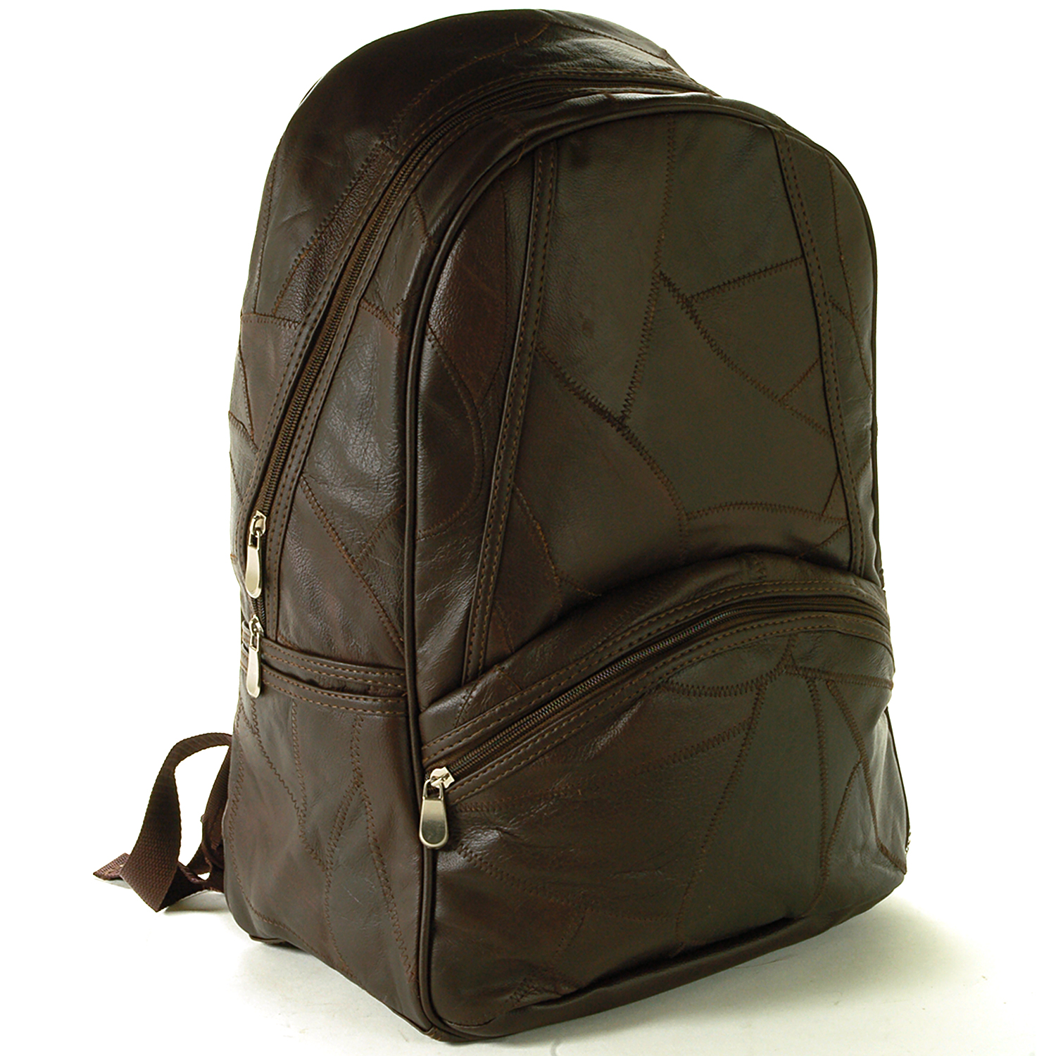 "Laptop Backpack Patchwork Leather 15"" Computer Case Travel Organizer Book Bag"