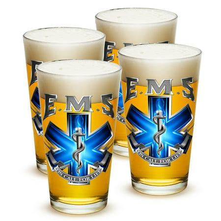 Pint Glasses – EMT Paramedic Gifts for Men or Women – EMT Beer Glassware – EMS On Call For Life Beer Glasses with Logo - Set of 4 (16 Oz)