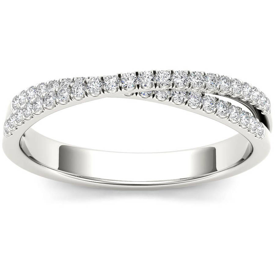 Imperial 1 4 Carat T.W. Diamond Cross Over 10kt White Gold Wedding Band by Imperial Jewels