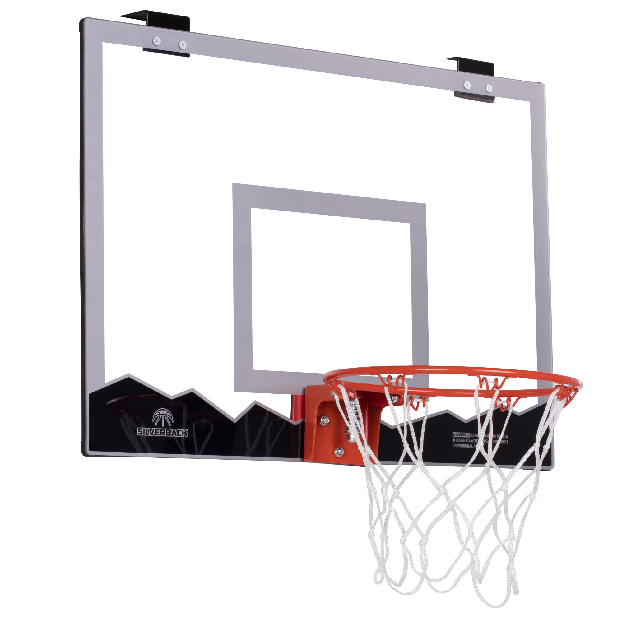 """Silverback 23"""" Over the Door Mini Basketball Hoop Set with Shatterproof Backboard Perfect for Home or Office"""