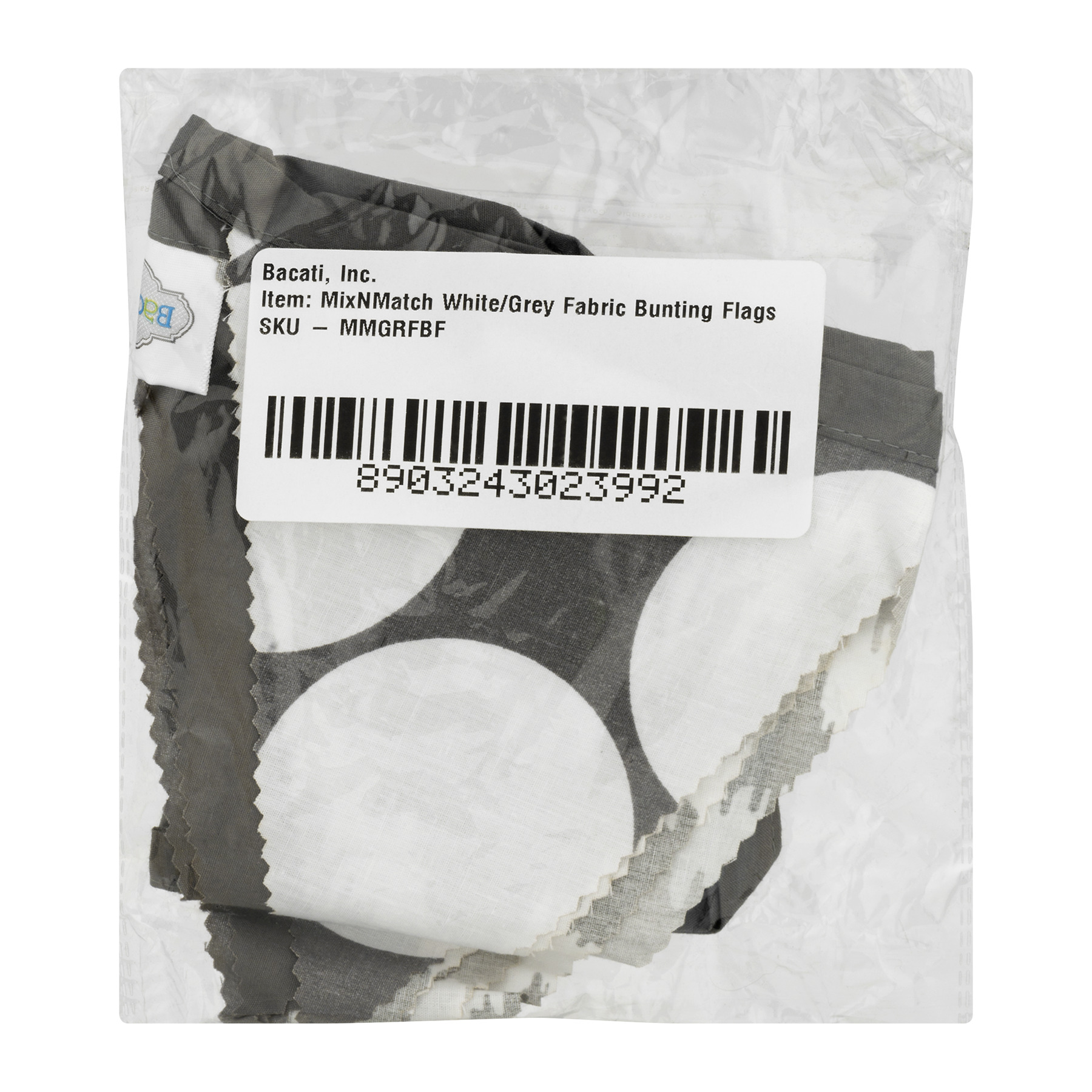 Bacati Fabric Bunting Flags White/Grey Mix N Match, 1.0 CT