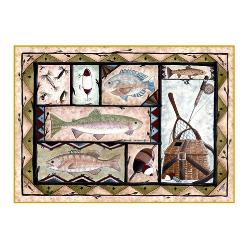 Custom Printed Rugs Wildlife Fishing Black/Brown Area Rug