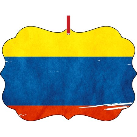 Flag Colombia - Colombian Flag Double Sided Elegant Aluminum Glossy Christmas Ornament Tree Decoration - Unique Modern Novelty Tree Décor Favors for $<!---->