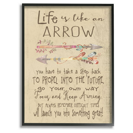 The Kids Room by Stupell Life is Like an Arrow' Icon Inspirational Typography Framed Wall Art by Regina Nouvel (Framed Inspirational Art)
