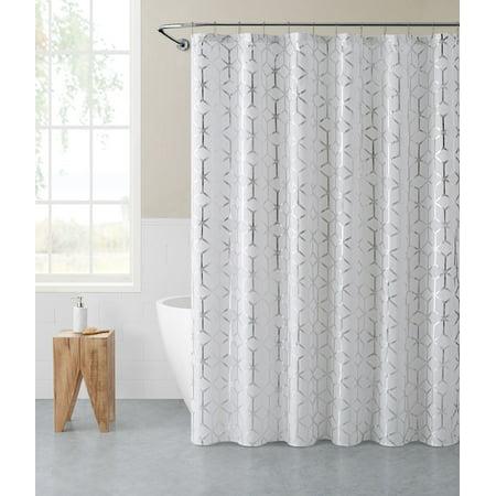 Mainstays Geo Diamond Iridescent Shower Curtain and Liner Set, 14 Pieces,