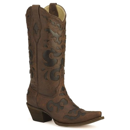 CORRAL Women's C1957 Vintage Goat Inlay Brown Fashion Boots 12 -