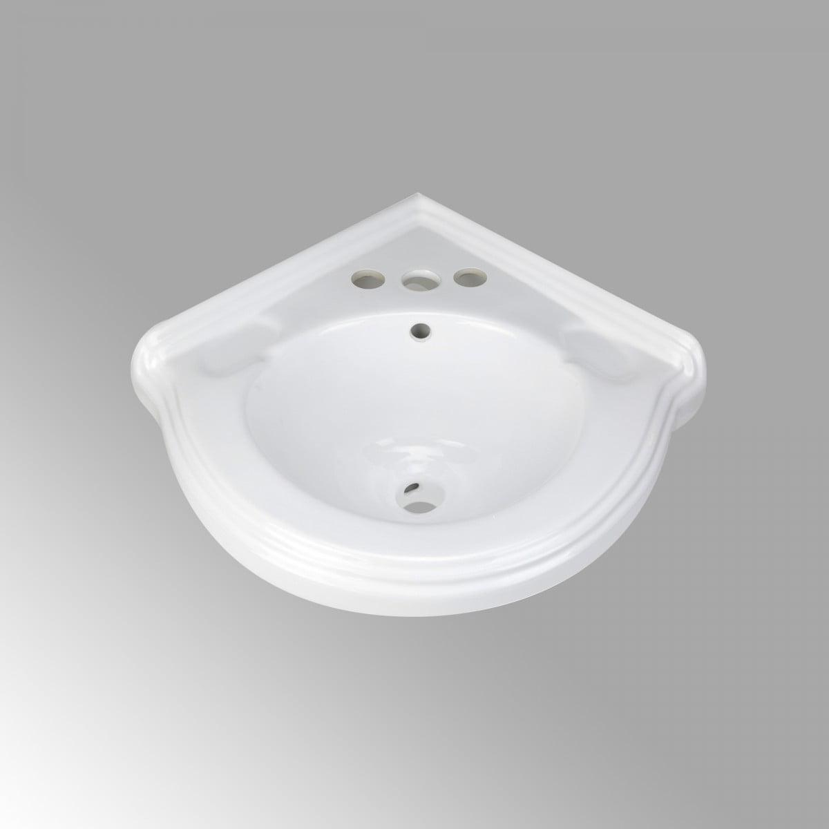 Renovator S Supply Portsmouth 22 Corner Wall Mounted Bathroom Sink In White With Overflow Walmart Com Walmart Com