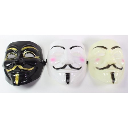 White, Black & Yellow V For Vendetta Guy Fawkes Anonymous Costume Halloween Masks - Nerd Costume Guy