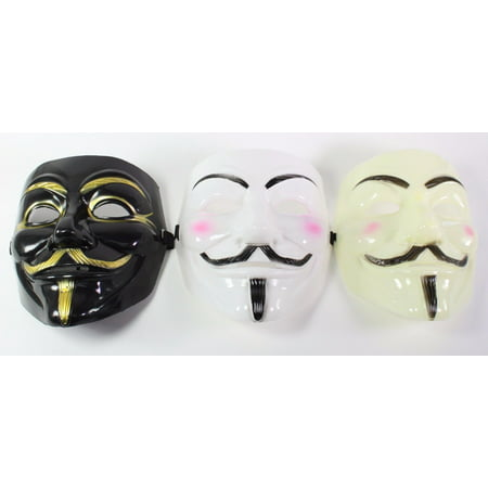 White, Black & Yellow V For Vendetta Guy Fawkes Anonymous Costume Halloween Masks](Guy Halloween Costume Ideas)