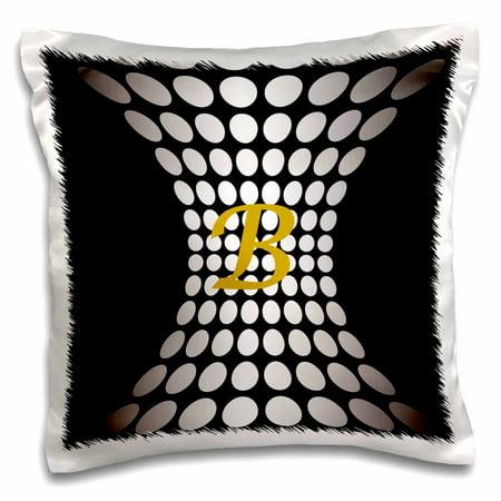 3dRose Letter B Monogram On Modern Silver n Black - Pillow Case, 16 by 16-inch (Modern Diamond Monogram)