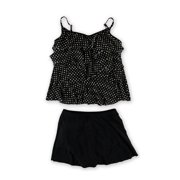 MiracleSuit Womens Dot Tiered Skirt 2 Piece Tankini, Black, 10