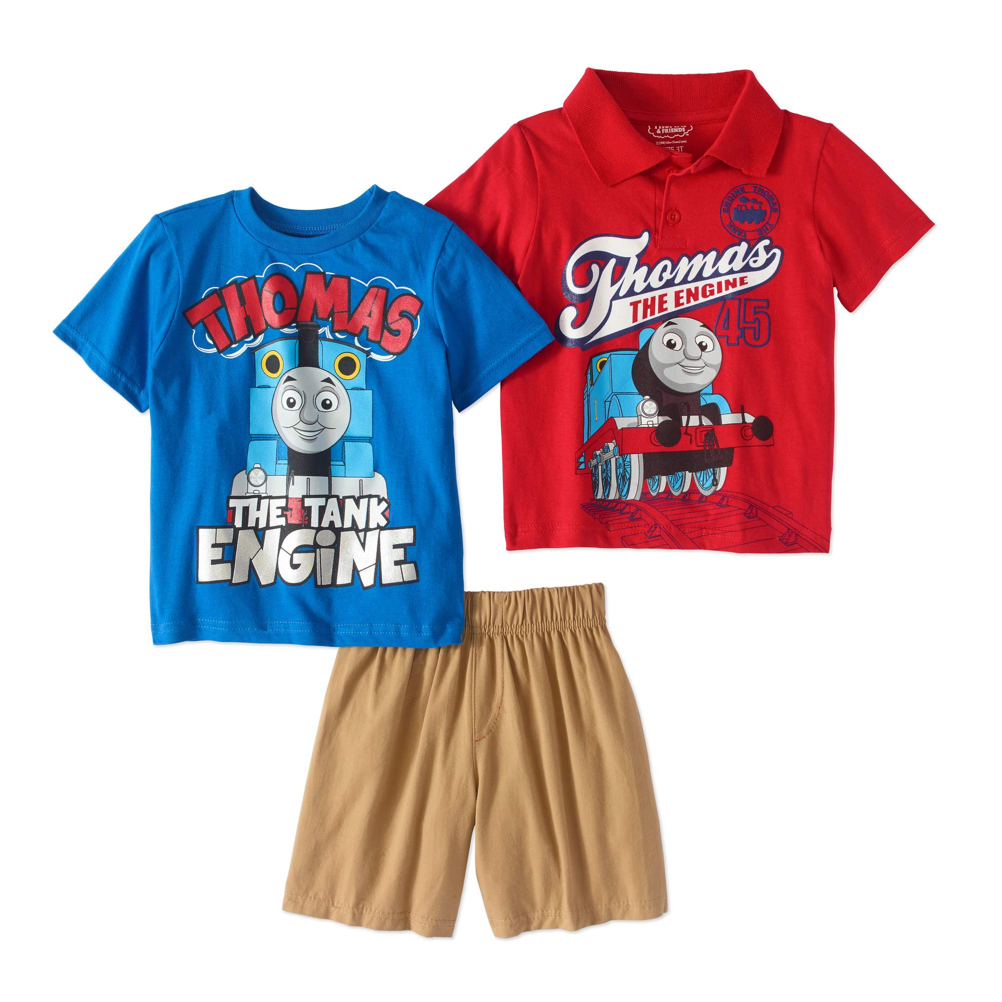 Thomas the Train Toddler Boy Polo Shirt, T-shirt & Shorts, 3pc Outfit Set