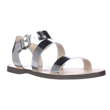 Womens Dolce Vita Veya Flat Strapped Sandals, Silver Specchio