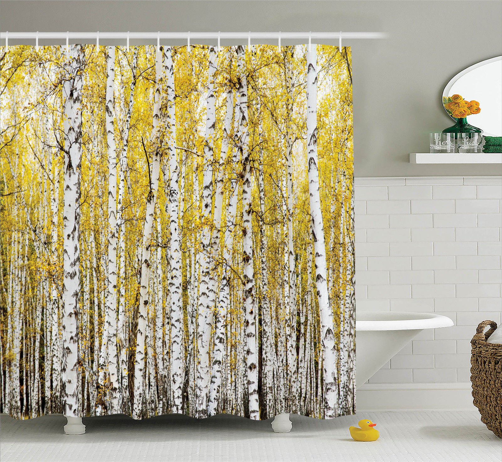 Farm House Decor Shower Curtain Set, Autumn Birch Forest Golden Leaves Woodland October Seasonal Nature Picture, Bathroom Accessories, 69W X 70L Inches, By Ambesonne
