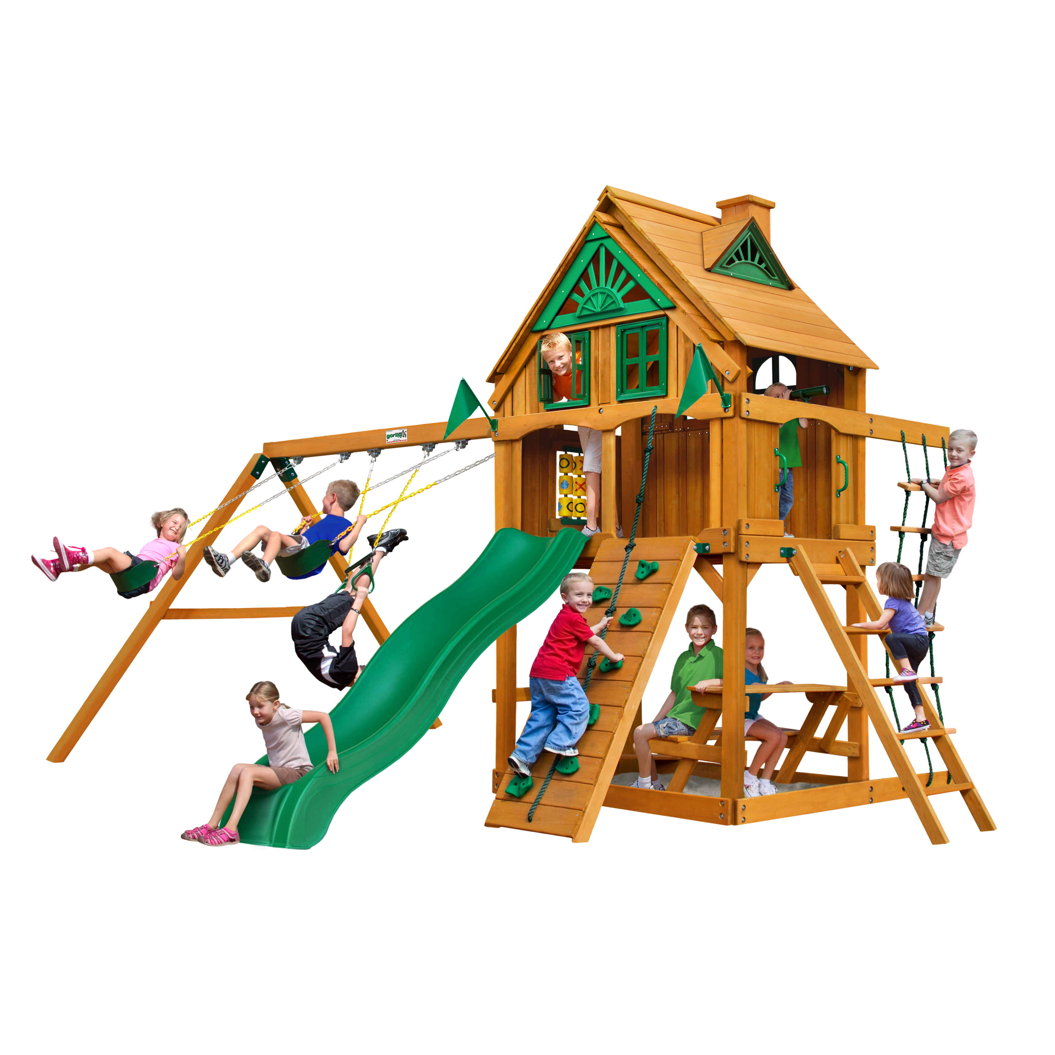 Gorilla Playsets Chateau Treehouse Cedar Swing Set with Fort Add-On & Natural Cedar Posts