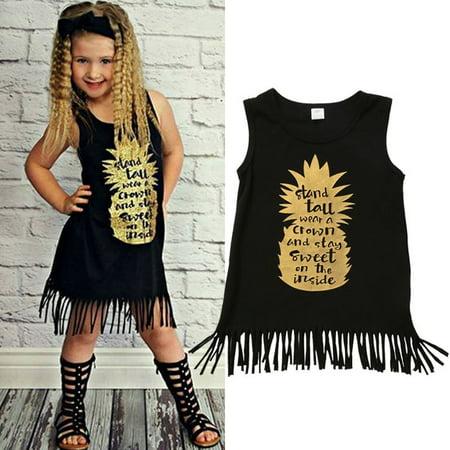 Toddler Kids Baby Girls Summer Gold Pineapple Tassels Dress Matching Shirt