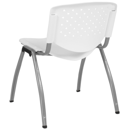Flash Furniture HERCULES Series 880 lb. Capacity White Plastic Stack Chair with Titanium Frame