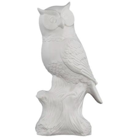 66700 Porcelain Owl On A Tree Stump Large Gloss White - White