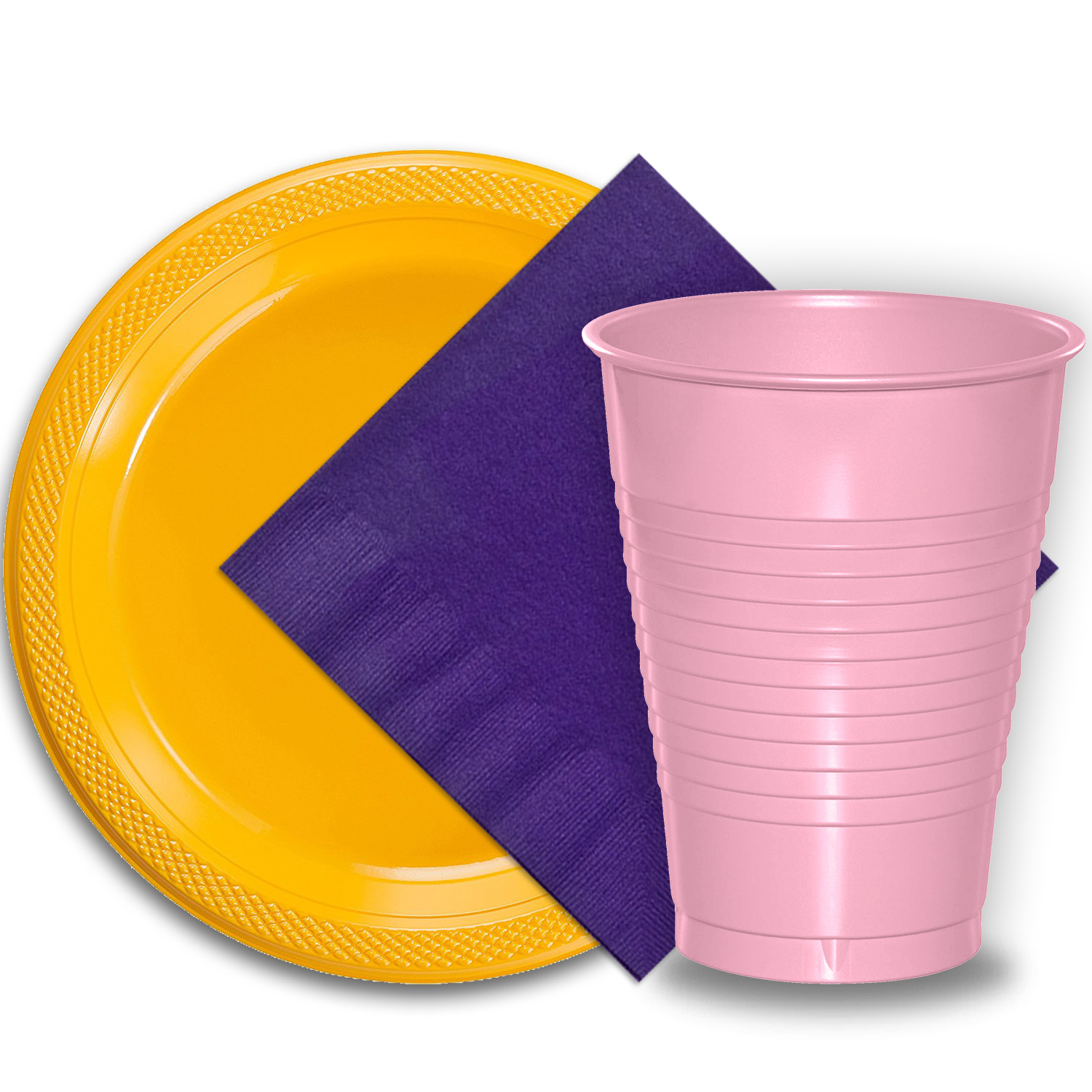 """50 Yellow Plastic Plates (9""""), 50 Pink Plastic Cups (12 oz.), and 50 Purple Paper Napkins, Dazzelling Colored Disposable Party Supplies Tableware Set for Fifty Guests."""
