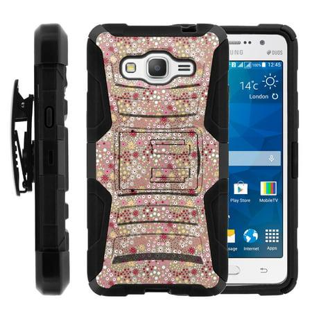 TurtleArmor ® | For Samsung Galaxy Grand Prime | Samsung Galaxy Go Prime [Hyper Shock] Hybrid Dual Layer Armor Holster Belt Clip Case Kickstand - Field of Flowers ()