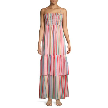Striped Tiered Hem Maxi Dress](Lord And Taylor Dresses Clearance)