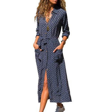 Women Summer Fall Long Sleeve Button Down Long Maxi Shirt Dress Floral Striped Plaid​ Printed Dresses Lapel V-Neck Casual Party Long Sun Dress With Belt