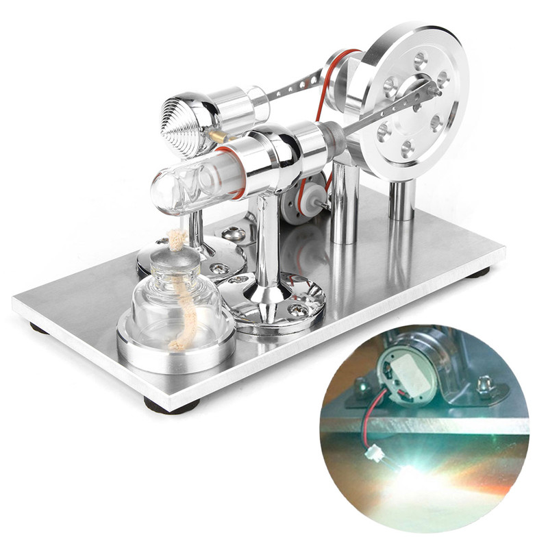 Hot Air Stirling Engine Motor Model Electricity Steam Power Generator LED Light Educational Toy Physics Experiment Kit + + Heating Glass Tube