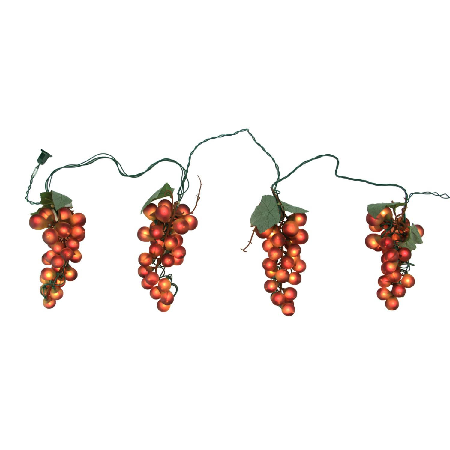 Tuscan Winery Red Grape Summer Garden Patio Christmas Light Set - 5 Clusters 35 Lights