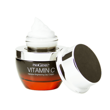 Progenix Vitamin C Intensive Brightening Day Cream with Hyaluronic Acid for dark spots, age spots, and uneven skin tone.