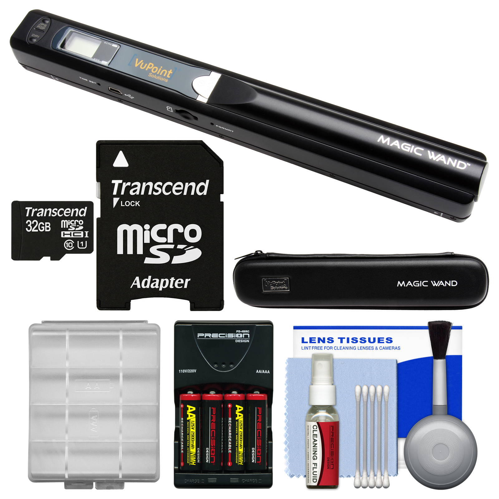 VuPoint Magic Wand Portable Photo & Document Scanner with Case (Black) + 32GB Card + Batteries & Charger + Kit