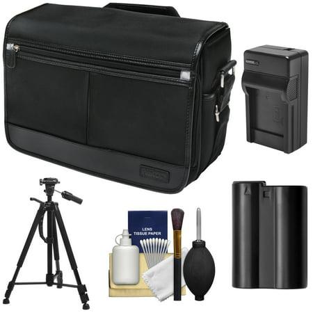 Nikon DSLR Camera/Tablet Messenger Shoulder Bag with EN-EL15 Battery & Charger + Tripod + Kit for D7200, D7100, D610, D800, D810