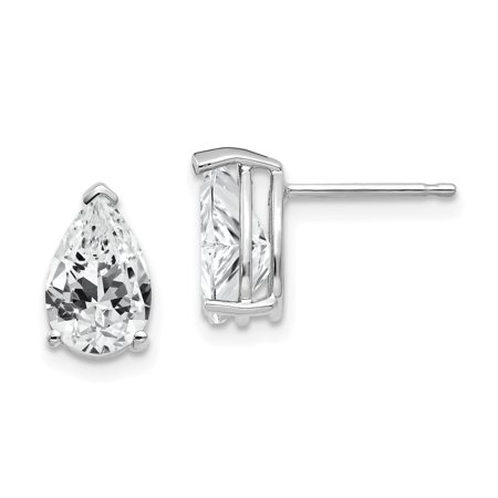14K White Gold 9x6mm Pear Cubic Zirconia Stud Earrings