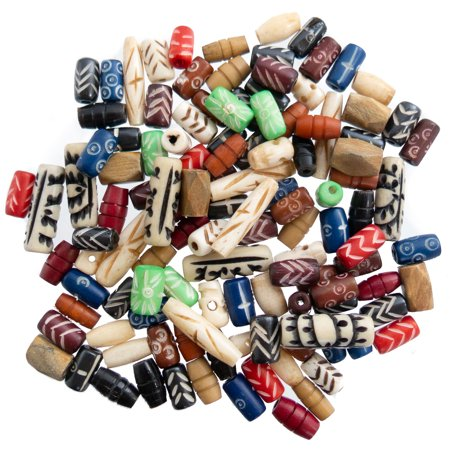 Bone Beads for Jewelry Making 120 PCs with Free Leather Necklace  - Ox Bone Hand Carved Craft Bulk Mix Bead Kit - - Bulk Bead Necklaces