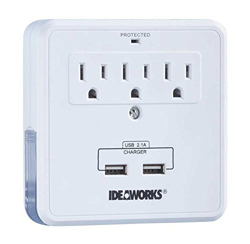 Wall Outlet Surge Protector, Ideaworks Charging Power Usb Plug Surge Protector