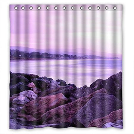 GreenDecor Purple White Seaside Waterproof Shower Curtain Set With Hooks Bathroom Accessories Size 66x72 Inches