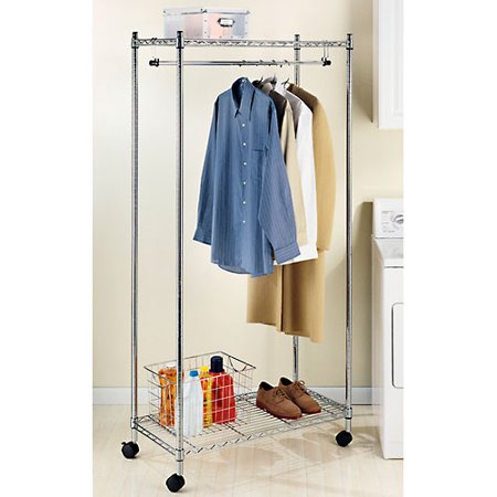 Whitmor Supreme Garment Rack Chrome With Wheels Silver Item Sku Fxhjzg2678076 Click Hover Scroll For Larger Images Skuwmt2678076