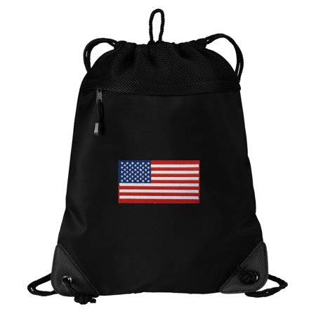 American Flag Drawstring Bag TWO SECTION USA Flag Cinch Pack Backpack - Unique Mesh & Microfiber