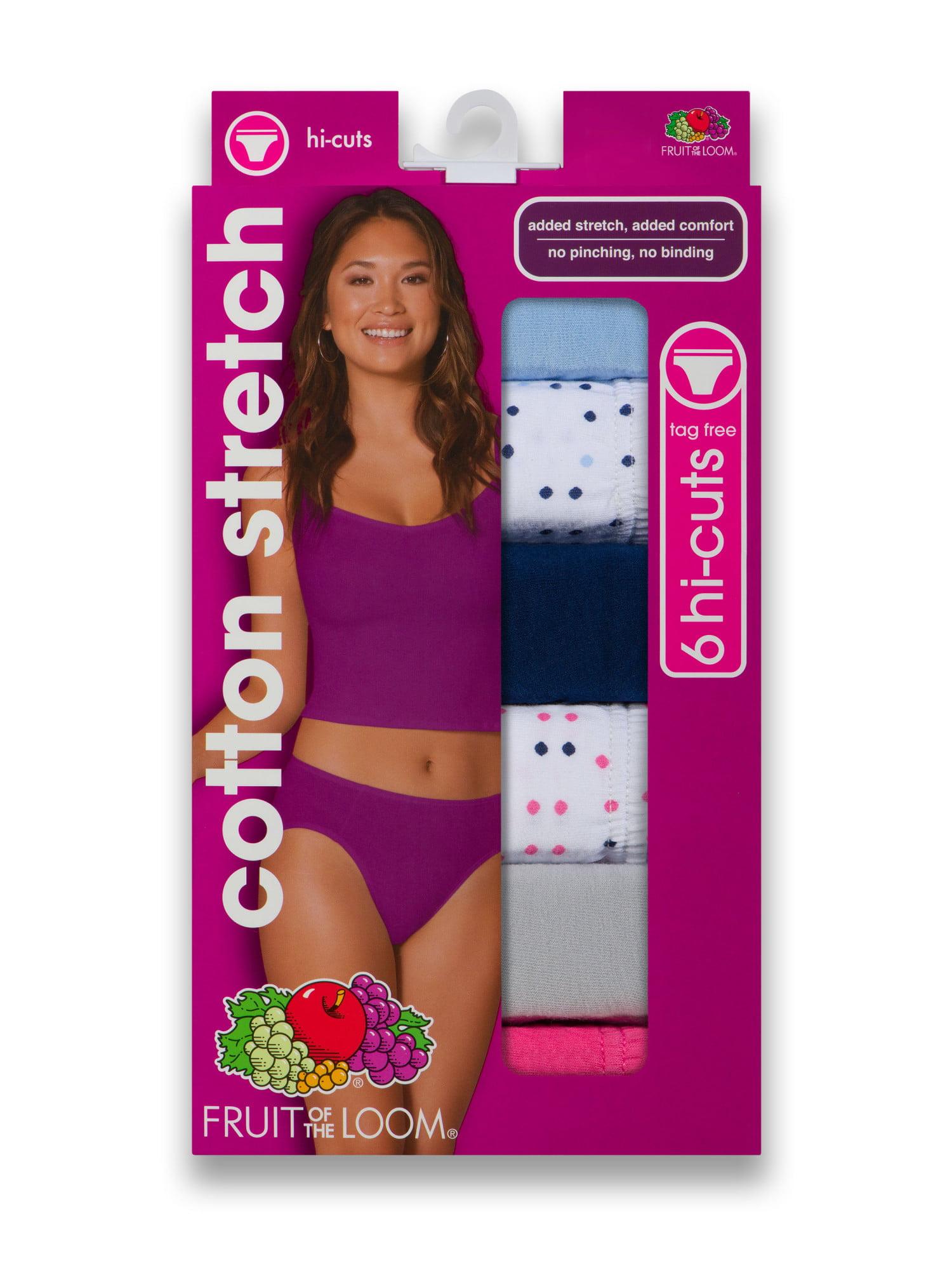 886f023d347a Fruit of the Loom - Women's Cotton Stretch Hi-Cut Panties, 6 Pack -  Walmart.com