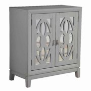 Benjara BM220477 2 Door Transitional Mirrored Accent Chest with Trellis Front, Gray