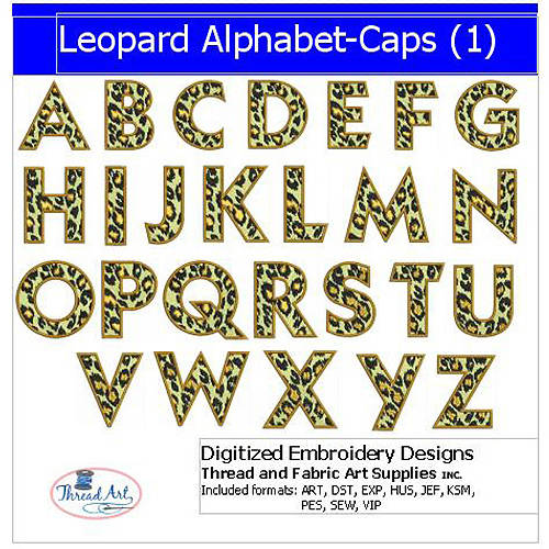 Threadart Machine Embroidery Designs Leopard Alphabet Caps(1) CD